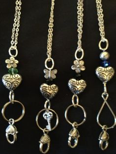 ? Punch holes in bottom of badge holder to hold strands of beads. Lanyard / id Badge Holder / Eye Glasses / by LauriesJewells, $10.00