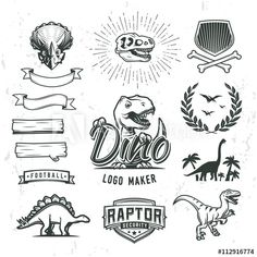 64f328329 Dino logo maker set. Dinosaur logotype creator. Vector T-rex banner  template.
