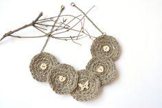 Crochet necklace with wood buttons Boho Fiber jewelry #jewelry #necklace #fiber #boho #crochet #crocheted #hoop #circle #bohemian #textile #linen