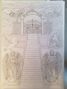 Ideas For Stairs Tattoo Design zeichnen Stairway To Heaven Tattoo, Gates Of Heaven Tattoo, Stairs To Heaven, Heaven Tattoos, God Tattoos, Future Tattoos, Tattoos For Guys, Heavens Gate Tattoo, Wing Tattoos