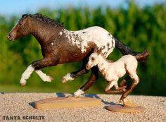 """This amazing duo came all the way from France. Mom is a Custom Breyer Smarty Jones, and Baby is a Heart's Fiesta Resin by Kathleen Moody. They're Bashkir Curly horses made into an Appaloosa pattern. Cutest. Things. Ever."""