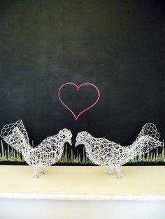 Pair of white doves wire sculpture, garden ornament, indoor figurine