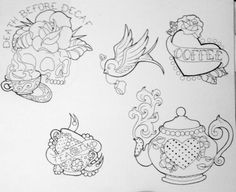 Coffee and tea tattoo flash | skull  Teapot | swallow | rose | line art | by becky dee art