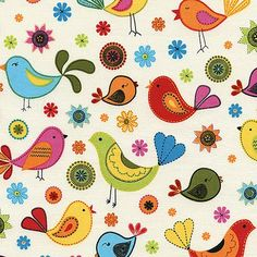 Novelty Fabric by Timeless Treasures Folk Art Birds Multicolored Multipatterned Chirping Birds on Cream, AllegroFabrics, fabric, kids, sewing, diy, girls fabric, sew for kids, sew clothes, cotton, quilting, material, kids fabric,