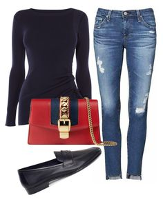 """""""Untitled #54"""" by wendywallbankwittmayer on Polyvore featuring Karen Millen, AG Adriano Goldschmied and Gucci"""