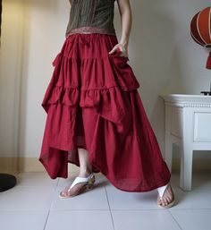 Take Me to Your Heart...Steampunk Short Front/ Long back Tiered Dark Red Light Cotton #Skirt With 2 Roomy Pockets