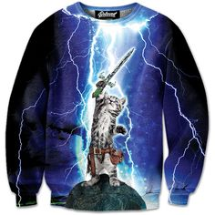 """belovedwear® presents the #CatHero Sweatshirt by Marcus Hadlock. This """"all over"""" print crewneck sweatshirt is made using a special sublimation technique to provide a vivid graphic image throughout the"""