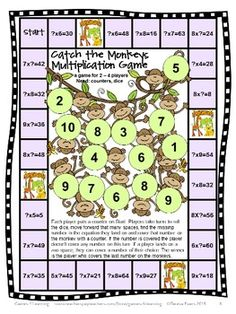 FREEBIE - Catch the Monkeys Multiplication Board Game by Games 4 Learning is a game for 2-4 players. This multiplication game reviews multiplication facts up to 9x9.