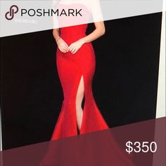 RED SHERRI HILL GOWN BEAUTIFUL RED SHERRI HILL MERMAID GOWN PERFECT FOR PROM. NEVER WORN! MUST GO. PRICE NEGOTIABLE Sherri Hill Dresses Prom