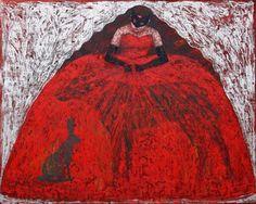 © Maria GUILBERT  # La robe au loup et au lièvre  (huile sur toile  165 x 135 cm)