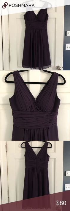 Bill Levkoff Bridesmaid Dress Plum 4 Bill Levkoff chiffon bridesmaid dress Plum color Size 4 No alterations made  Pleats adorn the bodice with a ruched cummerbund at the natural waist. Soft gathers embellish the skirt with overlay drape effect.   Worn once and dry cleaned Bill Levkoff Dresses