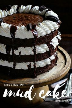 The Chocolate Cake with Chocolate Ganache, Kahlua Whipped Cream and Oreo is the definition of indulgent baking! Welcome to a jazzed up Mississippi Mud Cake! You'll love to make it as your family's holiday dessert! Save this easy cake recipe for later! Homemade Desserts, Easy Cake Recipes, Baking Recipes, Dessert Recipes, Cupcakes, Cupcake Cakes, Cake Cookies, Chocolate Desserts, Chocolate Ganache