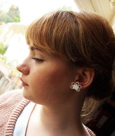 Flower Papercut design Earrings in Perspex by designosaurYEAH, $19.00