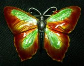 JEJ Hroar Prydz Norway Sterling Butterfly - 2 in - Sterling and Enamel - Green White Black. $149.99, via Etsy.