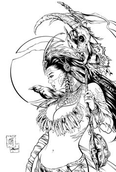 """Cover art for """"Dark Shaman"""", one of my absolute favorites that I've worked on so far.About 5 hours with a Mechanical pencil © 2014 Zenescope Entertainment Colouring Pages, Adult Coloring Pages, Coloring Books, Evvi Art, Art Sketches, Art Drawings, Fantasy Girl, Graphic, Cover Art"""