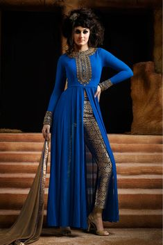 Blue Colour Georgette Fabric Designer Semi Stitched Salwar Kameez Comes With Matching Dupatta and Bottom Fabric. This Suit Is Crafted With Embroidery. This suit Comes as Semi Stitched and It can be St...