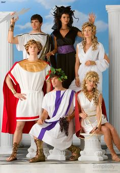 Great group costume idea and concept! Greek Mythology Gods and Goddesses. Sewing pattern includes Aphrodites, Medusa, Apollo and more! #Halloween #SimplicityPatterns