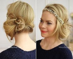 Vintage Hairstyles Curls DIY Vintage Hairstyles: Headband Tuck Flapper Hairstyle Tutorial - Gorgeous locks only look better when given a vintage touch, complete with headbands, volume, curls and the like. Vintage Hairstyles Tutorial, Retro Hairstyles, Little Girl Hairstyles, Headband Hairstyles, Wedding Hairstyles, Flapper Hairstyles, Gorgeous Hairstyles, Hairstyle Tutorials, 1920s Hair Tutorial