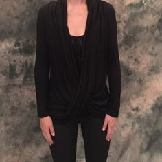 Black Drape Top Beautiful draped blouse. Hand wash only. 97% cotton, 3% spandex. Available in small medium and large. Contact me to make your own listing. Please do not purchase this listing. Sorry no trading! Lewboutiquetwo Tops Blouses