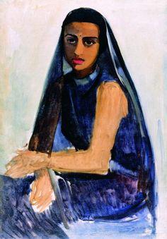 Indian Art - Amrita Sher-Gil - Self Portrait Ethnic - Art Prints Amrita Sher Gil, Selfies, India Art, Portraits, Portrait Paintings, Post Impressionism, Indian Paintings, Art History, Art Museum