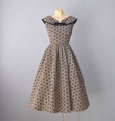 Vintage 1950s BOBBIE BROOKS Black and White Check with Flocked Stars Party Dress