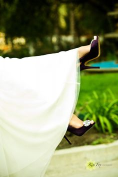 purple wedding heels! Love the shoes and the pose.