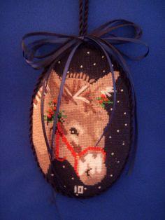 Christmas Donkey Ornament - needlepoint