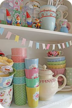Gnomes helping in the kitchen! Shabby chic crockery joy {cupcakejojo}
