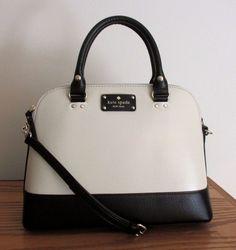 KATE SPADE Berkeley Lane SMALL RACHELLE Bag ~ BLACK & PORCELAIN Leather ~ NWT #katespade #TotesShoppers