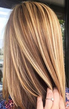 Brown hair with blonde highlights.