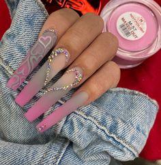 Acrylic Nails Coffin Pink, Long Square Acrylic Nails, Acrylic Gel, Coffin Nails, Bling Nails, Swag Nails, Dope Nail Designs, Drip Nails, Acylic Nails