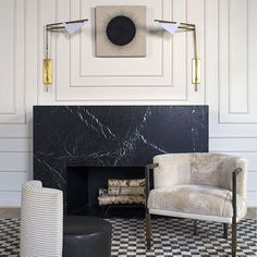 Quite the fireplace by @kellywearstler #fireplace #marble #kellywearstler #inspiration