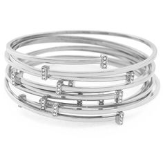 Vince Camuto Delicate Lines Pave Bar Bracelet Set ($78) ❤ liked on Polyvore featuring jewelry, bracelets, silver, pave bangle, pave jewelry, vince camuto and vince camuto jewelry