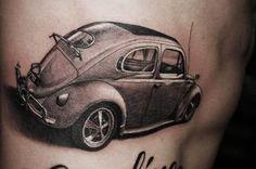 Volkswagen Beetle b/w tattoo