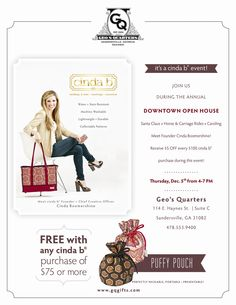 Geo.'s Quarters would like to invite you to our @Cinda b  Event to be held on Thursday, December 5th where you will have the opportunity to meet Cinda Boomershine (@Cinda Boomershine )