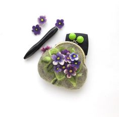 Wet Felted FLOWER Violets coin purse Handmade gift for her under 50 by MSbluesky on Etsy