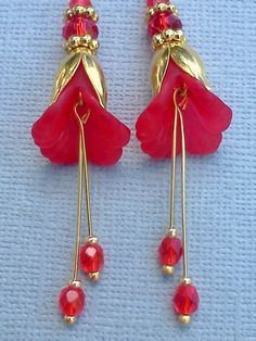 Radiant Red Lucite Flower Dangle Earrings- Swarovski Crystals & Cz