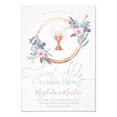 catholic girl first communion floral decor invitation   Zazzle.com