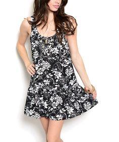 Another great find on #zulily! Black & White Floral Drop-Waist Dress #zulilyfinds