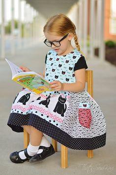 Back to School  SEW HAPPY  Dress Pattern -  Back to School Jumper  - Instant Download - PDF Sewing Pattern Baby 6 Months - 6 Children