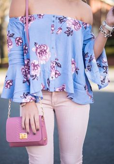 blushing in lavender, lavender off the shoulder top, astr off the shoulder top, pink jeans, pink distressed jeans, blanknyc pink jeans, gigi new york pink purse, cream wedges, pink lipstick, spring fashion, spring outfit details, spring outfit inspo spring outfit inspo, lavender and blush, blush pants, florals. OOTD
