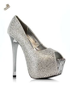 d1054f21a416 6 Inch Studded Peep Toe Pump (Silver 8) - Ellie shoes pumps for women  ( Amazon Partner-Link)