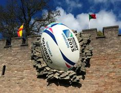 A giant rugby ball on the walls of Cardiff Castle to mark the start of the Rugby World Cup 2015. SPORT Rugby_24.jpg (443×342)
