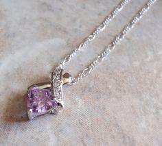 Cubic Zirconia Pendant Necklace Lavender CZ Sterling Silver Shield Cut Vintage
