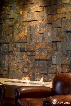 Cores escuras marcam o projeto do Arquiteto Rogério Menin, desenvolvido para a Mostra Sergio Bertti 2013. A lareira é abraçada pelas cores quentes do Mosaico Oxyden Grafitte. Foto de Claudio Fonseca.  #arquitetura #lareira Stone Cladding, Wall Cladding, Faux Walls, Textured Walls, Fake Brick, Decorative Wall Panels, Clay Tiles, Wall Finishes, Deco Furniture