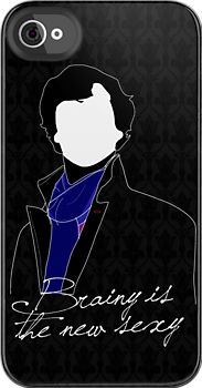 """""""Brainy is the new sexy."""" ~Irene Adler Quote with Sherlock Holmes Cartoon Silhouette iPhone Case, $42 via RedBubble.Com --- I also love how the 221B Baker Street wallpaper that I'm obsessed with is done tone-on-tone in the background. So much win! ... #Sherlock #BBC #TheWoman"""