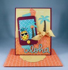 Aloha stamp set, Aloha Dies, Scripty Aloha Die and Selfie Frames Dies from Lawn Fawn + Moonshine Nuvo Glimmer Paste - Designed by Cindy Major