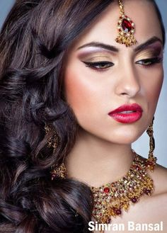 Sangeet ideas - indian bride make up, purple and gold make up with red lipstick
