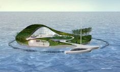 Together with a naval architect and a building engineer, WHIM architecture is developing a floating recycled island prototype that employs recycled coastal pollution as building material. Architecture Design, Floating Architecture, Building Architecture, Futuristic City, Futuristic Architecture, Villa Design, House Design, Floating House, Floating Island