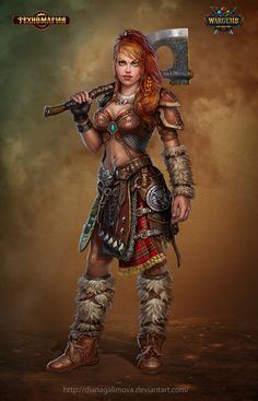 The Female Gnome Barbarian, Diana Galimova on ArtStation at https://www.artstation.com/artwork/2Lkky